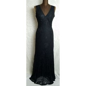 Black lace overlay maxi gown dress XS